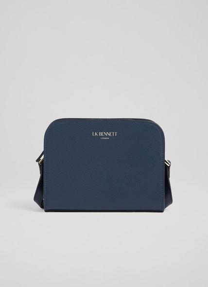 Marie Navy Leather Crossbody Bag