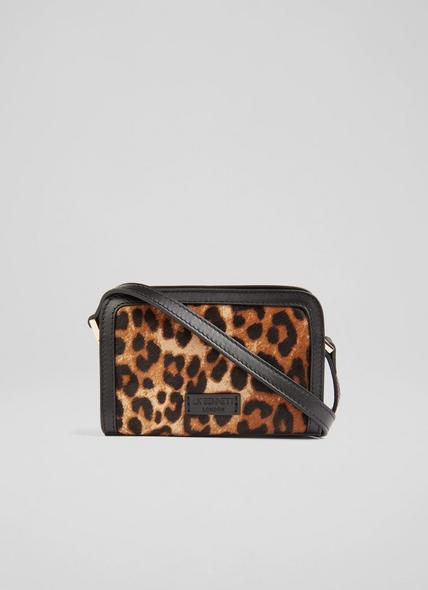 Queenie Leopard Print Calf Hair Crossbody Bag