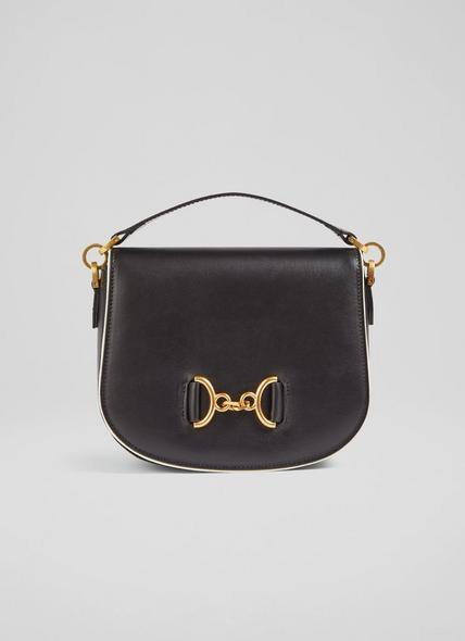 Sandra Black Leather Snaffle-Detail Bag