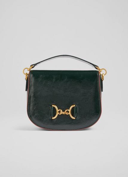 Sandra Green Crinkle Patent Snaffle-Detail Bag