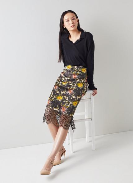 Agnes Floral Print Black Silk Pencil Skirt