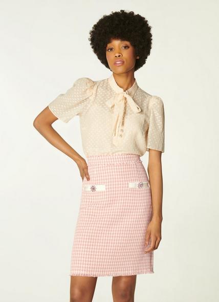 Beau Pink Cream Tweed Skirt