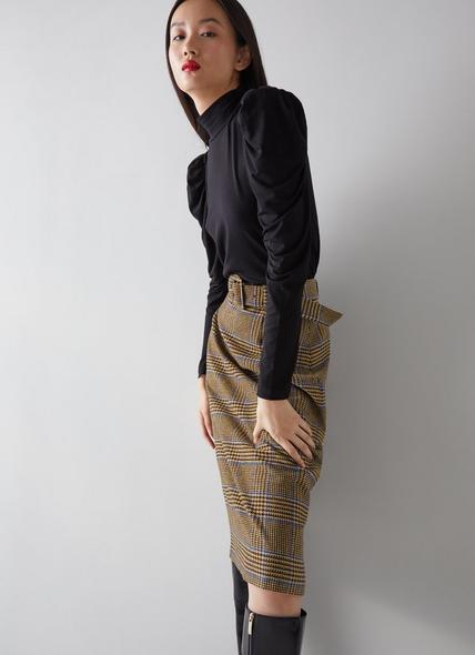 Gabriel Brown and Blue Check Wool-Blend Pencil Skirt