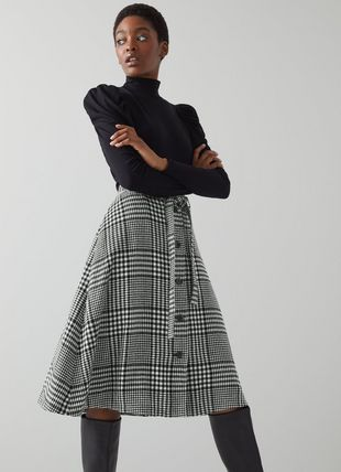 Katie Black and White Check Wool-Blend Skirt