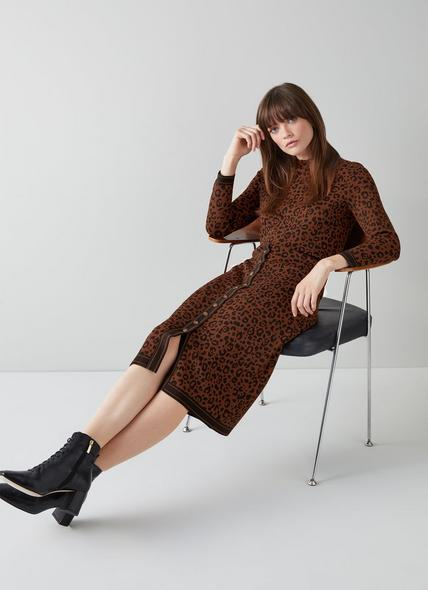 Lea Leopard Print Knit Pencil Skirt