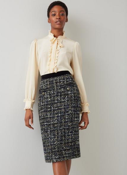 Leena Black Lurex Tweed Skirt