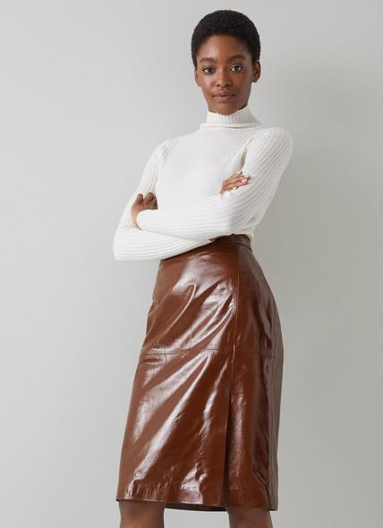 Romain Brown Patent Leather Pencil Skirt