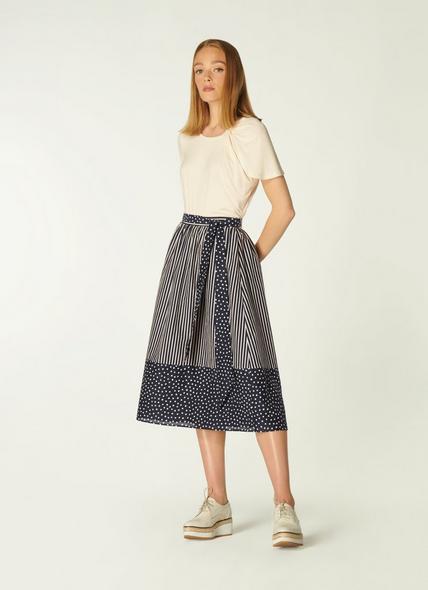 Smith Navy and Cream Stripe Print Cotton-Silk Skirt