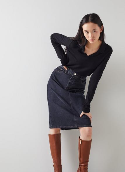Willow Blue Organic Cotton Denim Skirt