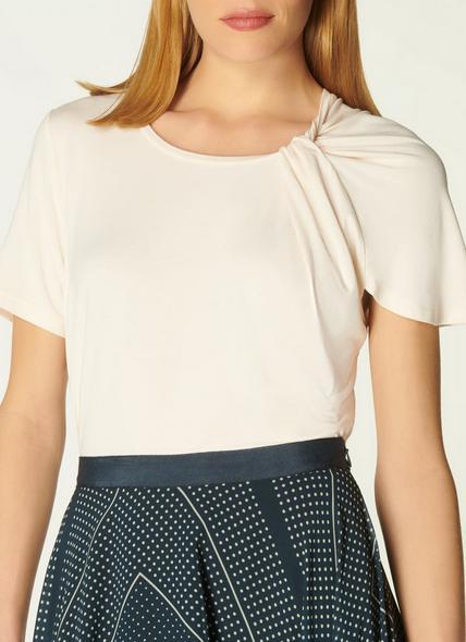 Riley Cream Jersey Twist Neck T-Shirt