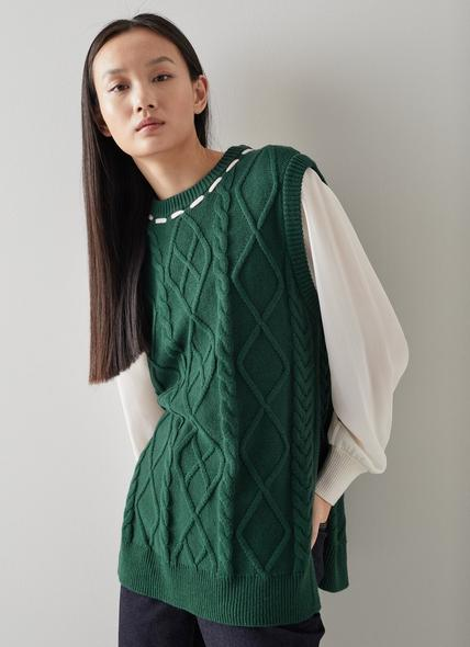 Andrea Green Cotton-Wool Cable Knit Vest