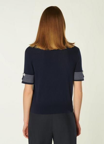 Bay Navy and Cream Stripe Cotton Knitted Top