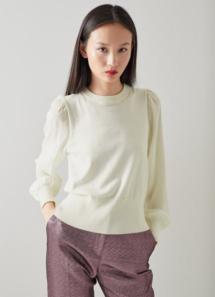 Gloria Cream Silk Sleeve Wool-Cotton Jumper