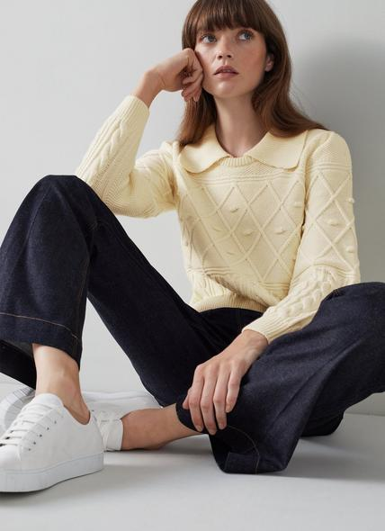 Jean Cream Cotton-Merino Wool Collared Jumper