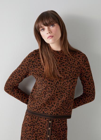 Lea Leopard Print Knit Jumper