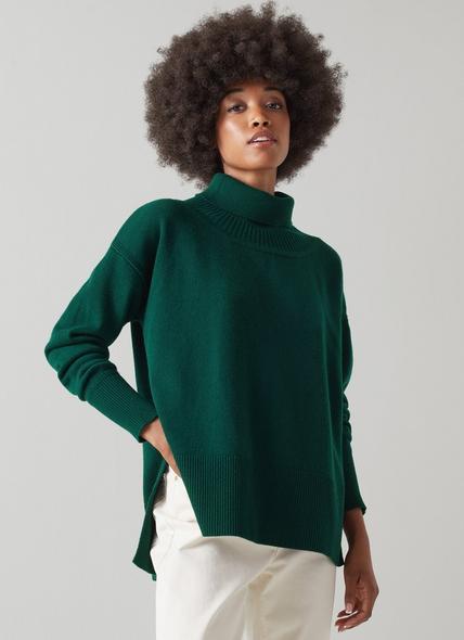 Marisol Green Wool-Cashmere Roll Neck Jumper
