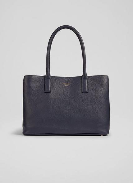 Lillian Midnight Grainy Leather Tote Bag