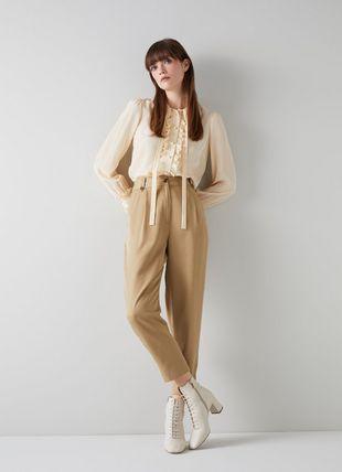 Amy Camel Tencel Pleat Front Trousers