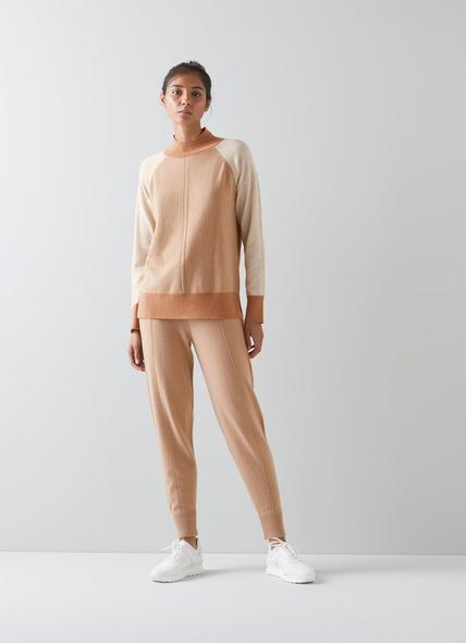 Bergen Cream and Camel Cashmere Joggers