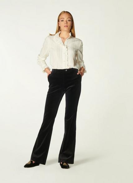 Evelina Black Cotton Mix Trouser