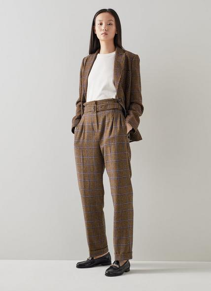 Gabriel Brown and Blue Check Wool-Blend Trousers
