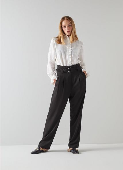 Lisette Black Fluid Belted Trousers