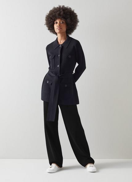 Miranda Black Merino Wool-Blend Knitted Trousers