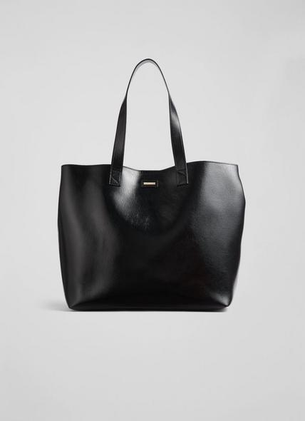 Abbie Black Crinkle Patent Tote Bag