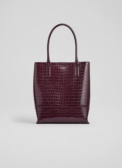 Joanna Bordeaux Croc Effect Tote Bag