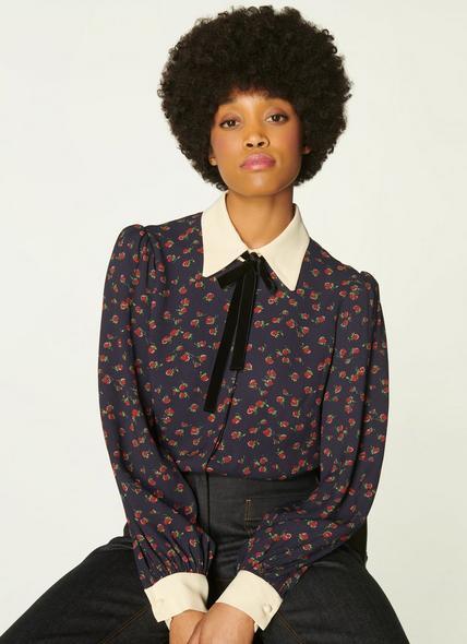 Annis Navy Raspberry Print Velvet Bow Blouse