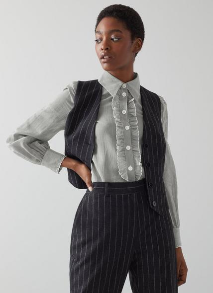 Carter Black and White Striped Cotton-Silk Shirt