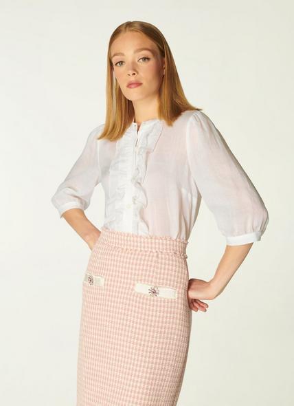 Daisy White Cotton-Silk Ruffle Blouse