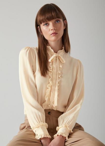 Diana Cream Silk Scallop Trim Shirt