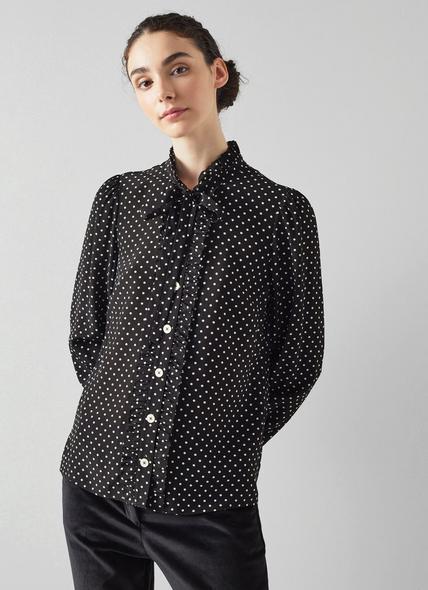 Dina Black and White Polka Dot Silk Shirt
