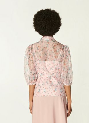 Luella Pink Scattered Rose Print Silk Organza Blouse
