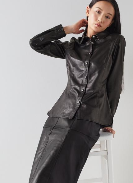Monmouth Black Leather Shirt