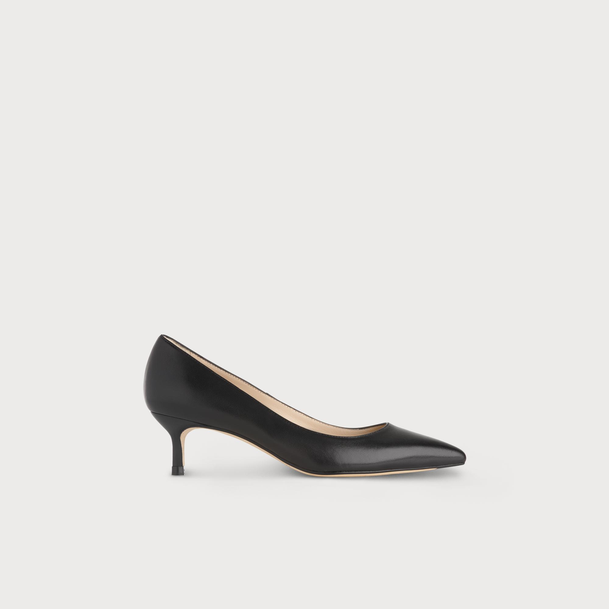 37cc5024eb Audrey Black Leather Kitten Heel Courts   Shoes   L.K.Bennett