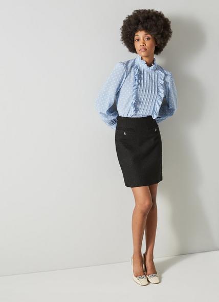 Charlee Black Tweed Skirt