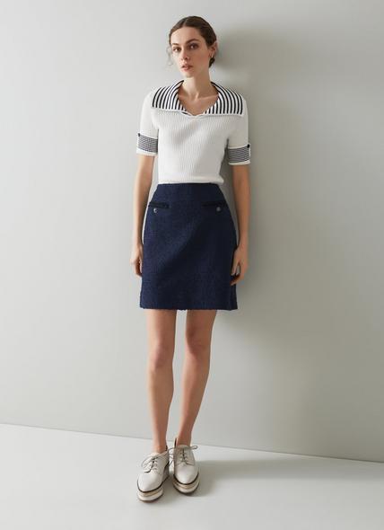 Charlee Navy Tweed Skirt