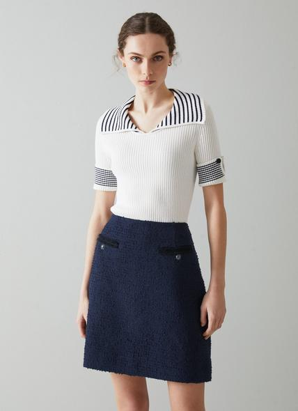 Charlee Navy Tweed Skirt