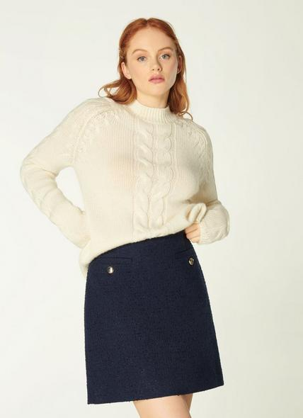 Highbury Navy Tweed Skirt