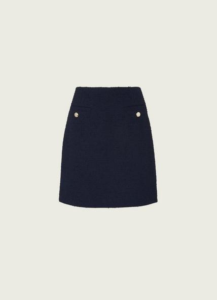 Highbury Navy Tweed Skirt
