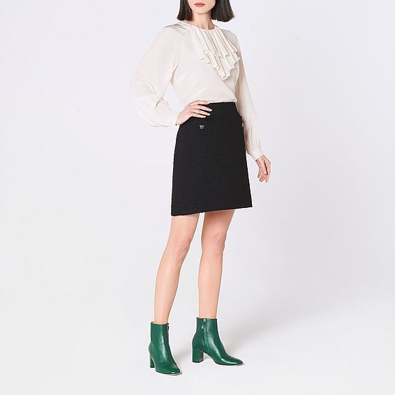 Mercer Black Tweed Mini Skirt