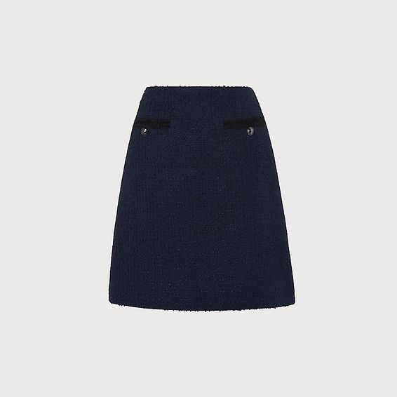 Mercer Navy Tweed Mini Skirt