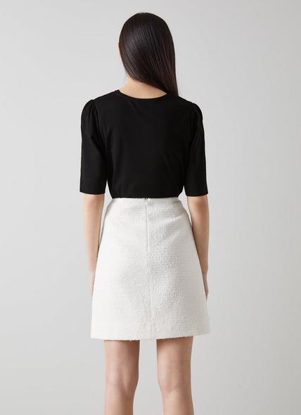 Saigon Black Ruched Sleeve T-Shirt