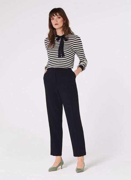 Frieda Navy Crepe Cigarette Trousers