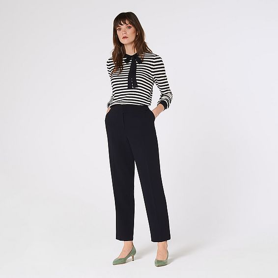 Frieda Navy Crepe Cigarette Trousers