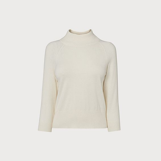 Brett Ivory Turtle Neck Wool Mix Jumper