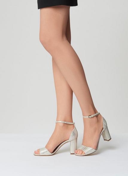 Helena Cream Metallic Lizard Sandals
