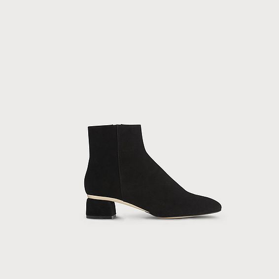 Noah Black Gold Suede Ankle Boots